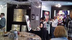 Artist Video Live painting at a vernissage in Paris by Svetlana Tikhonova