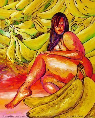 Aarron Laidig; Banana Boat, 2015, Original Painting Acrylic, 16 x 20 inches. Artwork description: 241   Lovely bunches of bananas with freshly picked and slightly green ones in the rear while the more sweet and ripe ones are in the forefront. Kind of a pop expressionistic thick thighs figurative piece here. I hope you enjoy it.  ...