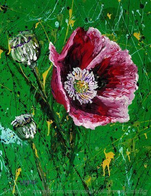 Aarron Laidig; Opium Gum, 2015, Original Painting Acrylic, 11 x 14 inches. Artwork description: 241  Impression of the poppy and opium gum. Papaver somniferum, The