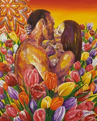 Aarron Laidig; Many Colored Tulips, 2019, Original Painting Oil, 16 x 20 inches. Artwork description: 241 Many colored tulips acrylic on canvas measuring 16  wide x 20: high romantic themed painting by contemporary artist Aarron Laidig -Keywords = tulips, tulip, lovers, sweet love, beautiful love, romantic, romantic lovers, romance, pretty love, erotic lovers, erotic love, amorous, intimate, passionate, erotic artists, soul mates, twin flame ...