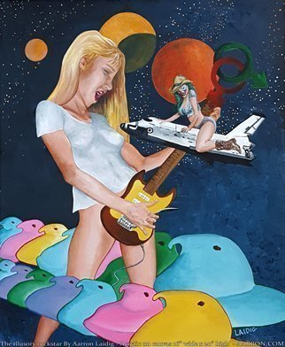 Aarron Laidig; The Illusory Rockstar, 2017, Original Painting Acrylic, 16 x 20 inches. Artwork description: 241 The illusory rockstar is an allegorical surreal bit of fun focusing on the imagination of a girl at home. This painting is on loose canvas measuring 16  wide x 20  high and would require framing or mounting to be displayed. Loose canvas paintings such as this are ...