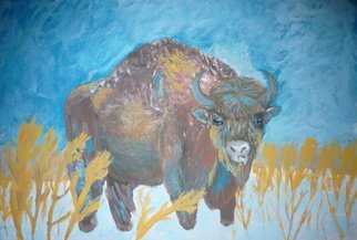 Alexander Hinovsi; Bison, 2019, Original Painting Acrylic, 50 x 35 cm. Artwork description: 241  Artwork is draw with acrylic paint.  In Symbolic and Post- Impressionistic stile. ...