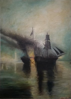 Abed Alem; No Name, 1992, Original Painting Oil, 50 x 70 cm. Artwork description: 241 abed alem oil on canvas sea seascape...