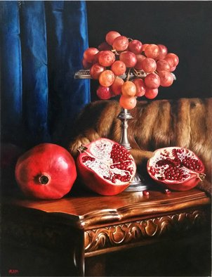Abed Alem; Romance, 2012, Original Painting Oil, 60 x 80 cm. Artwork description: 241 romance abed alem oil on canvas pomegranatelight still life...