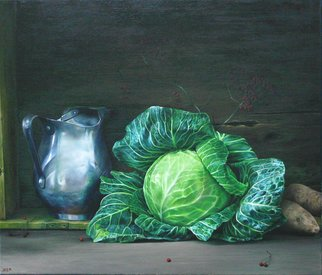 Abed Alem; Still Life With Cabbage, 2011, Original Painting Oil, 70 x 60 cm. Artwork description: 241  still life with cabbage abed alem oil on canvas ...
