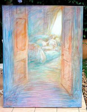 Angelo Bonito; Rest, 2005, Original Pastel Oil, 114 x 146 cm. Artwork description: 241  Girl resting trough a door ...