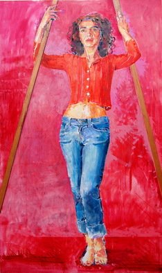 Lawrence Buttigieg; Girl Against A Red Backgr..., 2008, Original Painting Oil, 98 x 163 cm.