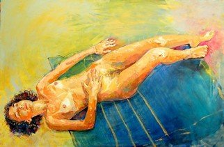 Lawrence Buttigieg; Nude Lying Down On Yellow..., 2007, Original Painting Oil, 195 x 130 cm.