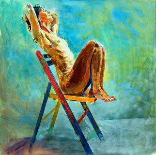 Lawrence Buttigieg; Nude On Chair, 2007, Original Painting Oil, 120 x 120 cm.