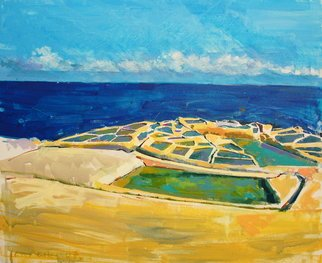 Lawrence Buttigieg; Salt Pans At Qbajjar, 2007, Original Painting Oil, 61 x 50 cm.