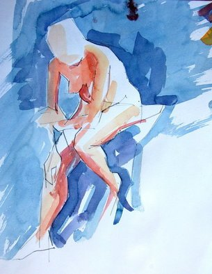 Lawrence Buttigieg; Study Of Girl, 2008, Original Watercolor, 22 x 27 cm.