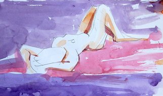 Lawrence Buttigieg; Study Of Girl, 2008, Original Watercolor, 27 x 13 cm.