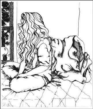 Stephanie Hayden; Dreaming Of Spring, 2002, Original Drawing Pen, 8 x 9 inches.
