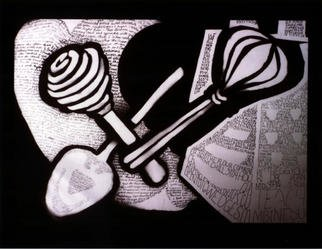 Stephanie Hayden; Kitchen Tools Of Inspiration, 2002, Original Drawing Pen, 21 x 16 inches.