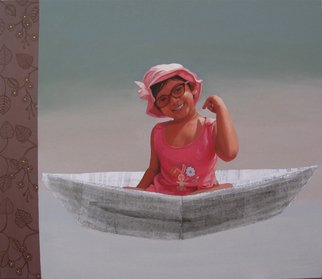 Nabendu Roy; Imagination Of Little Girl 1, 2020, Original Painting Acrylic, 34 x 30 inches. Artwork description: 241 Inspiration aEUR