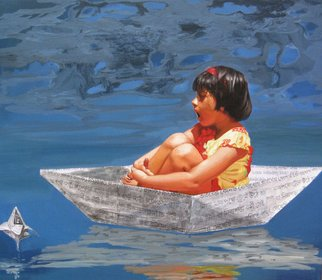 Nabendu Roy; Imagination Of Little Girl 10, 2020, Original Painting Acrylic, 34 x 30 inches. Artwork description: 241 Inspiration aEUR