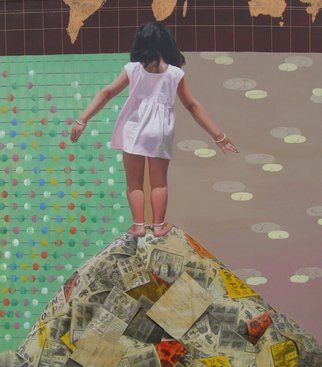 Nabendu Roy; Imagination Of Little Girl 4, 2020, Original Painting Acrylic, 48 x 54 inches. Artwork description: 241 Inspiration aEUR
