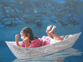 Nabendu Roy; Imagination Of Little Girl 5, 2020, Original Painting Acrylic, 48 x 36 inches. Artwork description: 241  Inspiration aEUR