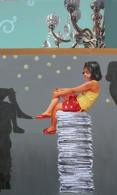 Nabendu Roy; Imagination Of Little Girl 9, 2020, Original Painting Acrylic, 36 x 60 inches. Artwork description: 241 Inspiration aEUR