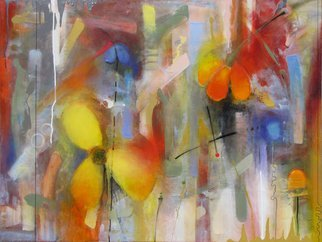 Chi Harkrader; Water For Flowers, 2012, Original Mixed Media, 48 x 36 inches. Artwork description: 241  Floral, abstract, mood, soft, powerful, organic, large, colorful, ...