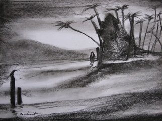 Trushant Dongre; Indian Landscape, 2011, Original Drawing Charcoal, 8 x 11 inches.