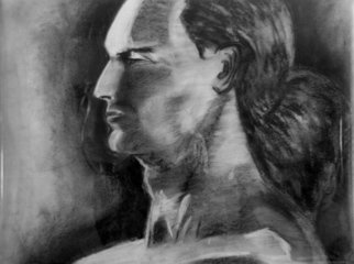 Artie Abello; Male Profile, 2002, Original Drawing Charcoal, 23 x 18 inches.