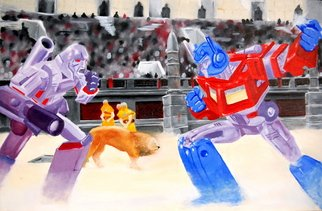 Artie Abello; Transformers, 2004, Original Painting Oil, 41 x 27 inches.