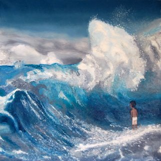 Artie Abello; Tsunami, 2004, Original Painting Oil, 29 x 29 inches.