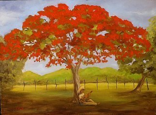 Angel Cruz; Bajo Su Flamboyan, 2007, Original Painting Oil, 27 x 20 inches. Artwork description: 241 Puerto RicoA jibaro or peasant strumming a stringed instrument beneath a FlamboyA! n tree at the end of a day s work in the fields. ...