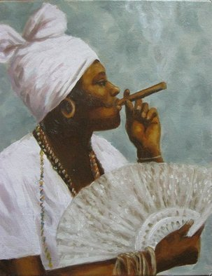 Angel Cruz; La Madama, 2011, Original Painting Oil, 14 x 18 inches. Artwork description: 241 Puerto Rico.A Madama, or Madam, is a spiritual healer and seer in the Latin American culture.  Oil on canvas over wood panel.  ...
