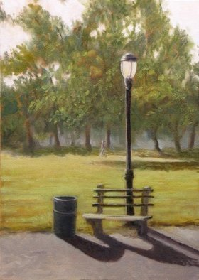 Angel Cruz; Park Bench, 2012, Original Painting Oil, 10 x 14 inches. Artwork description: 241  Prospect Park Bench in Brooklyn, NY on a sunny day.  Painted from a reference photo that I took one morning.  Oil on canvas over wood panel. ...