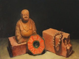 Angel Cruz; SL W Wooden Buddha N Pray..., 2015, Original Painting Oil, 20 x 14 inches. Artwork description: 241 Wooden Buddha statuette, Buddhist prayer beads and Taoist Pa Kua Octagon.  Oil painting on wood panel Unframed ...