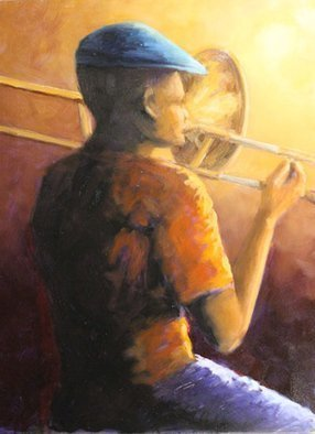 Angel Cruz; Trombone Solo, 2017, Original Painting Oil, 18 x 24 inches. Artwork description: 241 Trombone Solo - as a former musician and trombone player this painting was inspired by the experience. ...