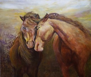 Sylva Zalmanson; Affection, 2015, Original Painting Acrylic, 28 x 24 inches. Artwork description: 241  Two horses ...