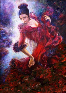Sylva Zalmanson; Flamenco Dancer 7 , 2012, Original Painting Other, 36 x 40 inches. Artwork description: 241         Dance, flamenco, girl, figurative     A portrait of young woman in medevieal style      ...