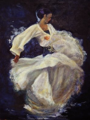 Sylva Zalmanson; Flamenco In White, 2013, Original Painting Other, 24 x 28 inches. Artwork description: 241          Dance, flamenco, girl, figurative     A portrait of young woman in medevieal style       ...