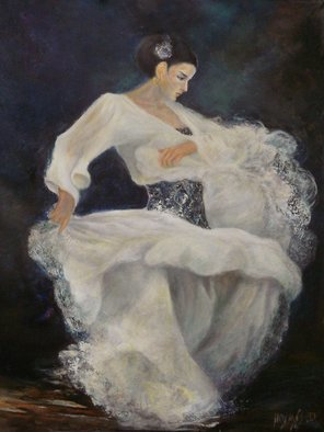 Sylva Zalmanson; Flamenco In White 2, 2014, Original Painting Oil, 36 x 48 inches. Artwork description: 241    Dance, flamenco, girl, oil on canvas, figurative ...
