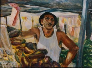 Sylva Zalmanson; Greengrocer, 2009, Original Painting Acrylic, 32 x 24 inches. Artwork description: 241  Greengrocer, man, people, figurative ...