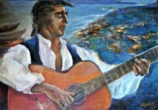 Sylva Zalmanson; Guitarist, 2009, Original Painting Acrylic, 36 x 24 inches. Artwork description: 241   Guitarist, music, man, people, see beach ...