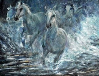 Sylva Zalmanson; Running Horses, 2013, Original Painting Acrylic, 48 x 36 inches. Artwork description: 241  Running horses in water ...