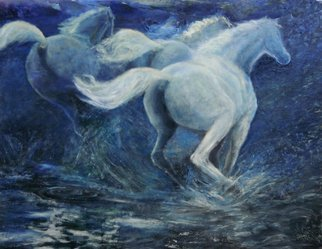 Sylva Zalmanson; Three Running Horses, 2013, Original Painting Oil, 48 x 36 inches. Artwork description: 241            Horses, running horses, oil painting.    A portrait of young woman in medevieal style         ...