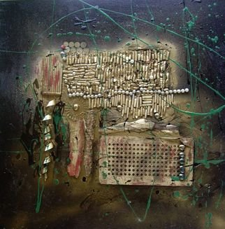 Wiola Anyz; Assemblage, 2011, Original Assemblage, 70 x 70 cm. Artwork description: 241  mixed mediaassemblageabstracttrash ...