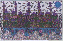 Artist: Adib Fattal's, title: A city over clouds, 2008, Drawing Marker