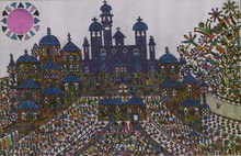 Artist: Adib Fattal's, title: A cross in a church square, 2008, Drawing Marker