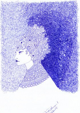 Adil Masood; Waiting Queen, 2007, Original Drawing Other, 8 x 11 inches. Artwork description: 241  Inspired by the gothic decorative elemnts its a face of a lady waiting for someone, done with ball pen scribling format. ...