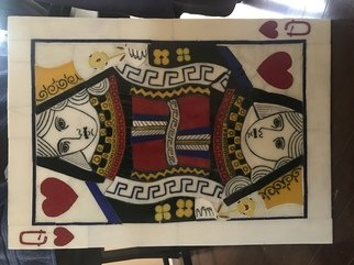 Paula Fell; Queen Of Hearts Commissio..., 2020, Original Glass Fused, 22 x 31 inches. Artwork description: 241 Kiln fused glass mosaic on Hardie board backer, now professionally framed in a simple black custom frame with picture wire.  Weighs 15lbs.Commissions available.Currently displayed in an Orange Count CA gallery until March 3rd. ...