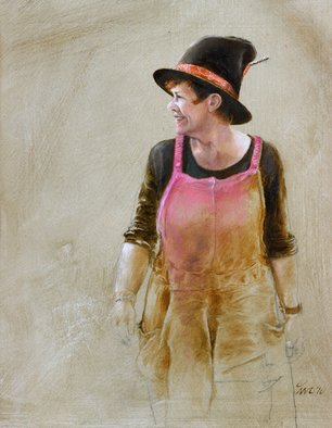 Ivo Winnubst; Henske Carnivale, 2010, Original Painting Oil, 25 x 20 cm. Artwork description: 241  Art, carnivale, portrait, realistic, human, oil, panel, new, woman   ...