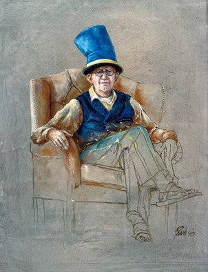 Ivo Winnubst; Memoies Of A Brand Jan He..., 2010, Original Painting Oil, 25 x 20 cm. Artwork description: 241   Art, carnivale, portrait, realistic, human, oil, panel, new, woman, chesterfield, chair, memories, brand    ...