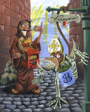 Jr Linton; Shakedown, 2005, Original Painting Acrylic, 16 x 20 inches. Artwork description: 241 JC Whiplash cranks out the hymns while Pogo the Pope Monkey extorts your cash. The price of eternal bliss. Original Acrylic on Board...
