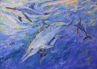 Agnieszka Praxmayer; Dolphins, 2006, Original Painting Oil, 100 x 70 cm. Artwork description: 241  Swimming dolphins in blue water / Sea life...